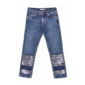 Zara Sequin Block Ankle Jeans Straight Mid Rise 6